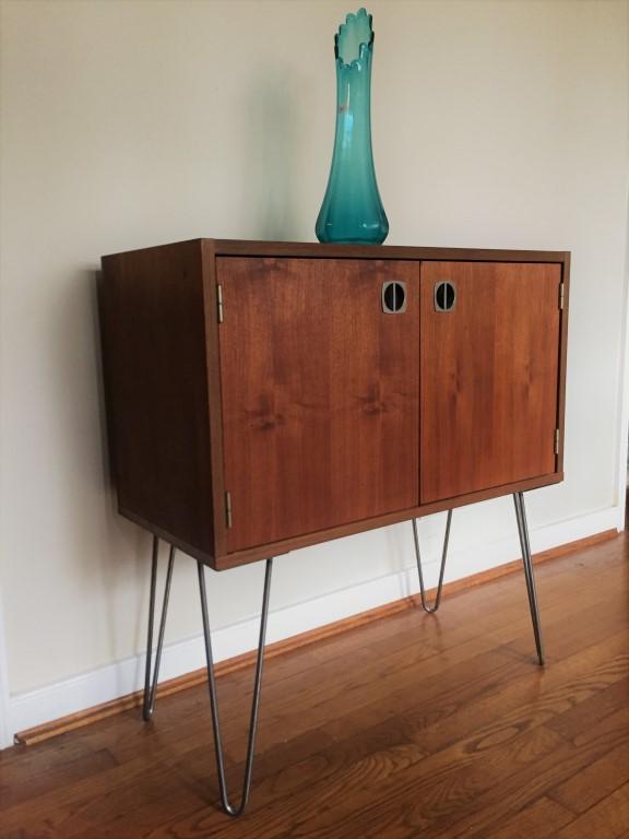 Vintage Walnut Storage Cabinet With Aluminum Recessed