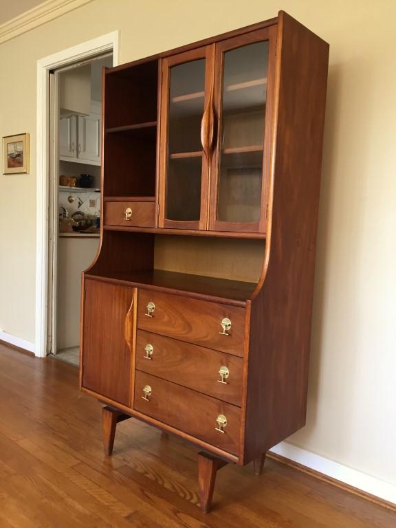 mid century modern walnut china cabinet stanley tivoli