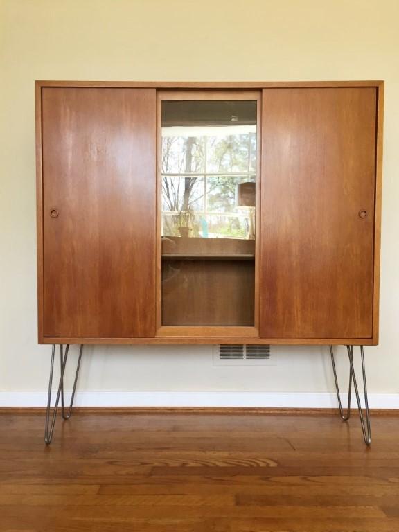 Mid Century Modern Illuminated Display Cabinet Sliding