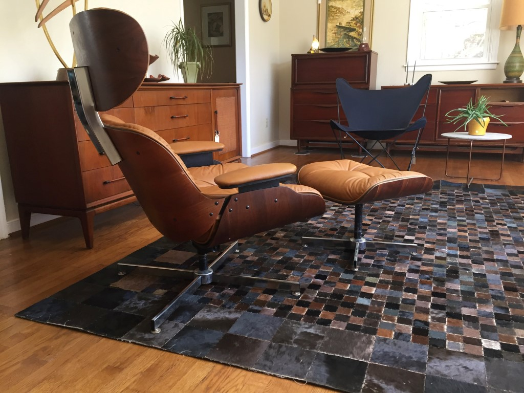 Eames Style Lounge Chair Amp Ottoman In Cognac Vinyl By