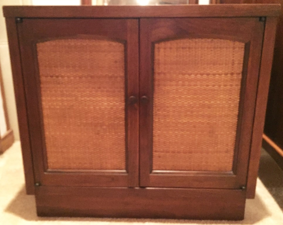 mid century modern walnut rattan nightstands Lane rhythm
