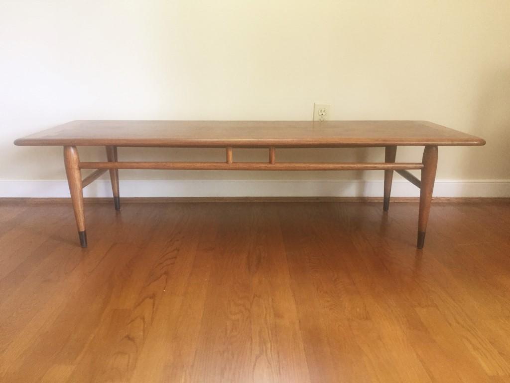 lane acclaim walnut oak coffee table mid century modern