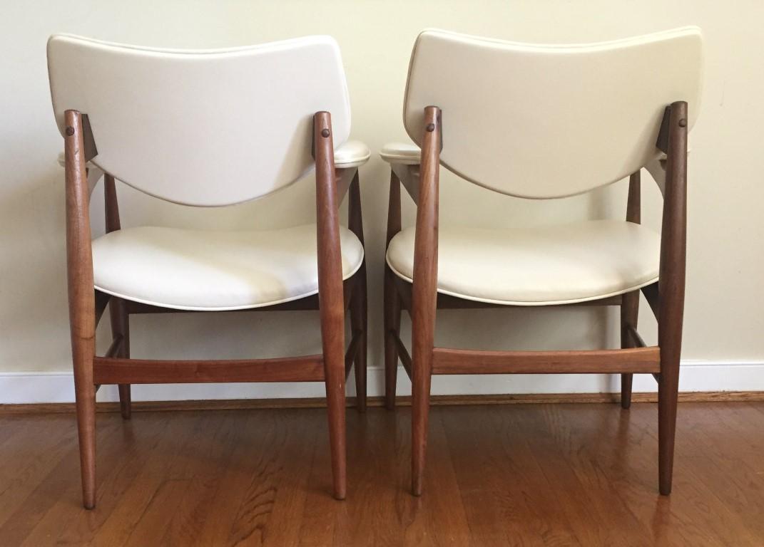 mid century modern armchairs vinyl walnut Thonet
