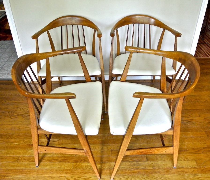 This Exclusive Set Of 4 Chairs By Thomasville, Feature Sculpted Arms And  Clean Forms. White Vinyl Seats Provide Contrast Against The Warm Wood Tones  And Add ...