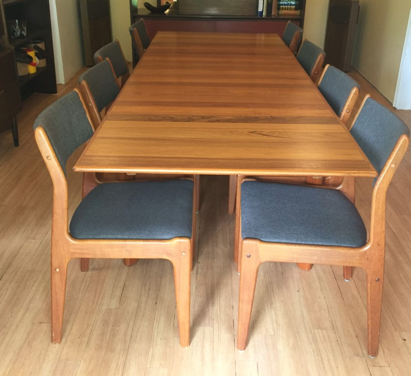 danish modern teak extensible refractory table eight chairs refinished