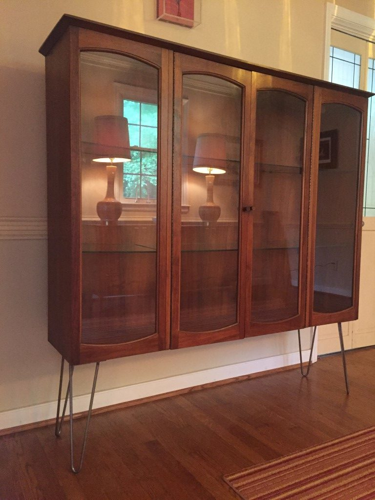 Mid century modern lane rhythm glass front display cabinet