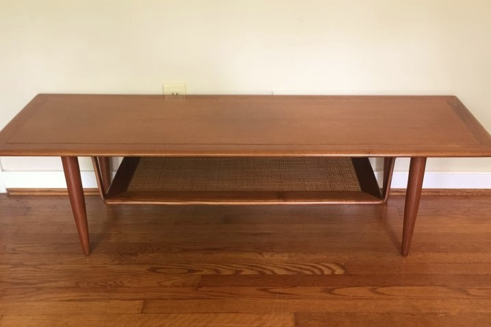 mid century coffee table end tables suspended rattan shelfmid century coffee table end tables suspended rattan shelf