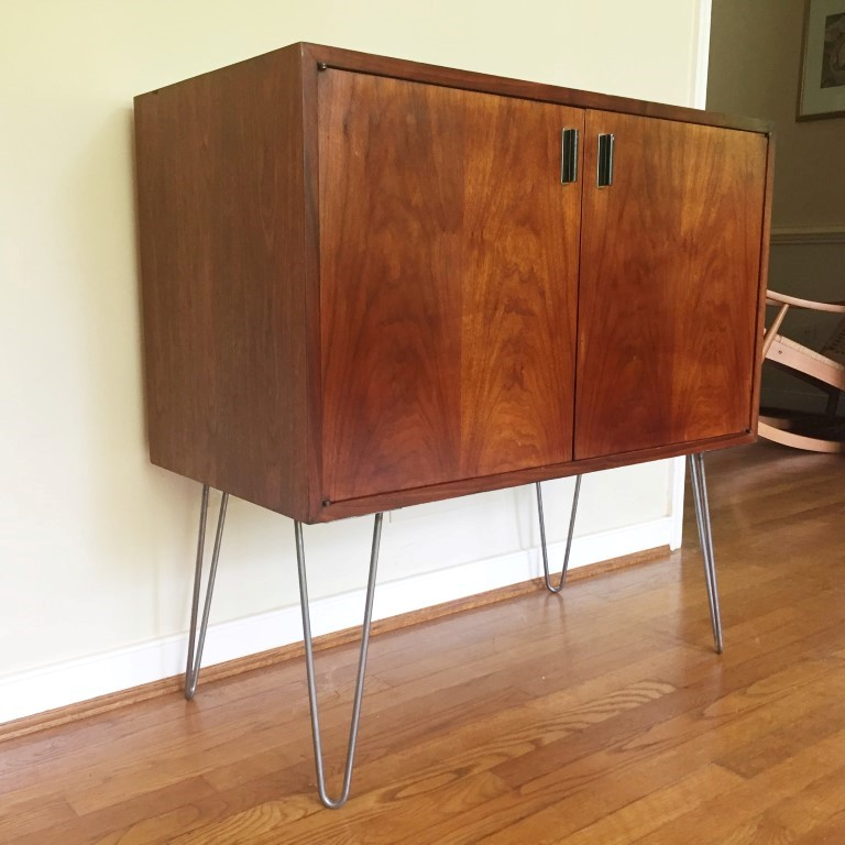 Vintage Walnut Storage Cabinet On Hairpin Legs