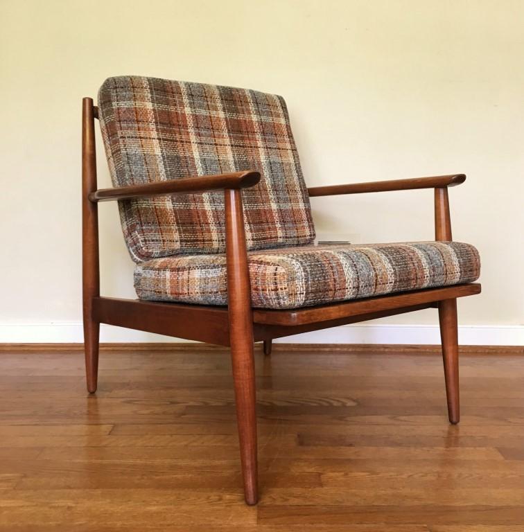 mid century modern solid walnut danish american lounge chair baumritter
