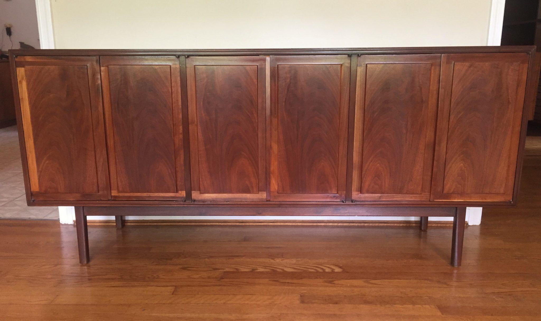 vintage mid century walnut-six door credenza