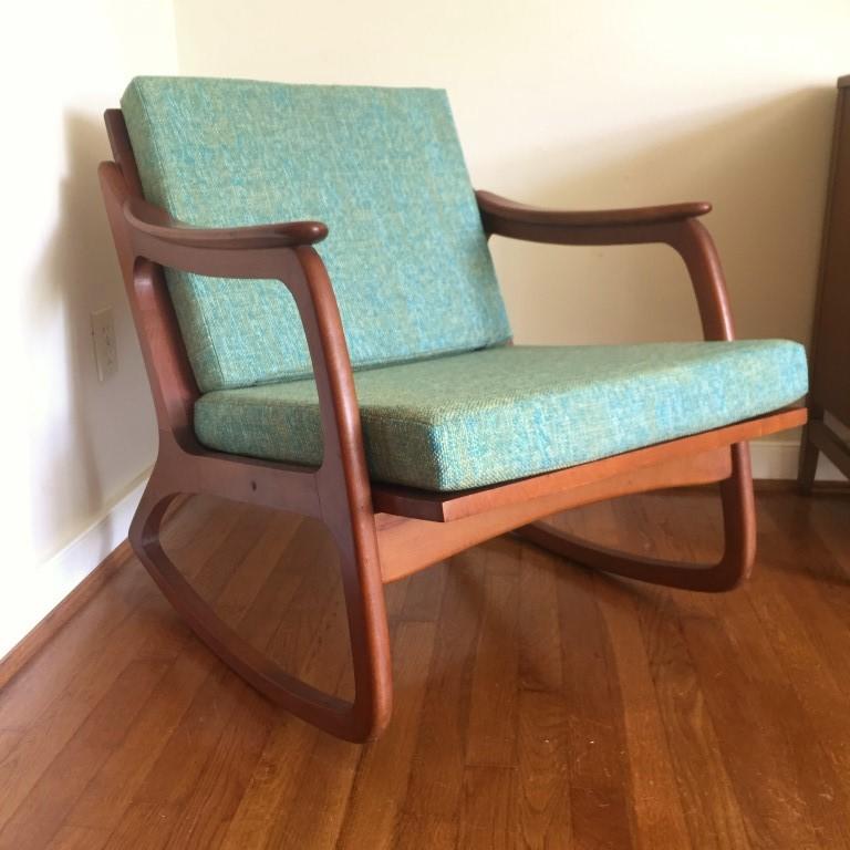 mid century modern walnut yugoslavian rocking chair