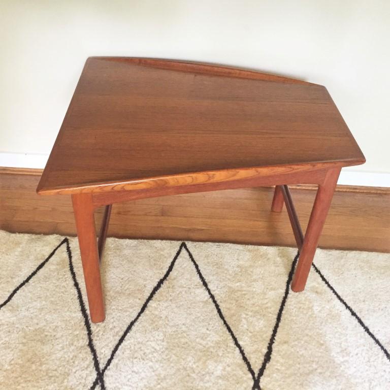 swedish modern teak wedge table folke ohlsson