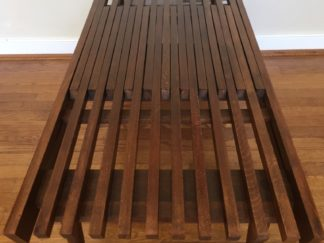 mid century modernr expandable wood slat coffee table