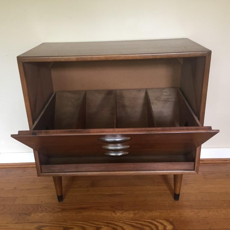 Mid century modern lane acclaim album storage cabinet record cabinet