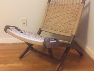 Wegner style mid century modern corded scissor chair