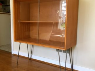 heywood wakefieldbirch display cabinet hairpin legs Mid Century Modern