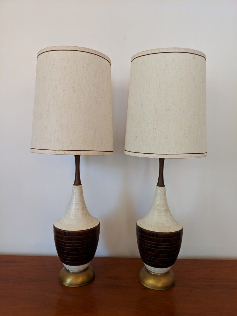 Picture of: Mid Century Modern White Brown Ceramic Table Lamps Walnut Necks Pair Epoch