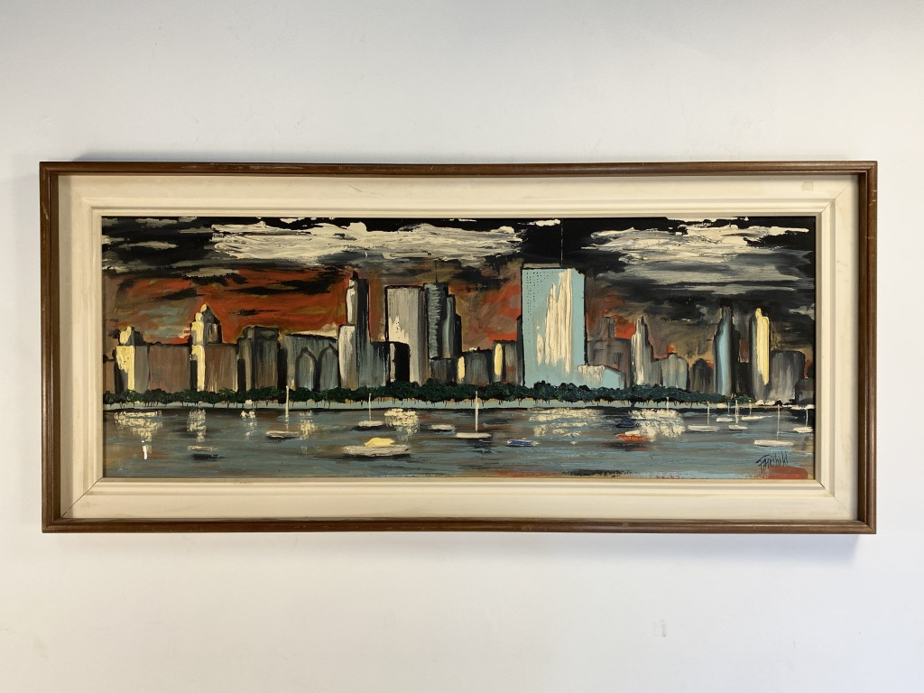 Mid Century Modern Framed Original City Scape Oil Painting by Fairchild,  20